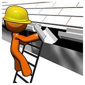 3d Orange Man Roof Worker Working on Gutters