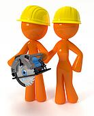 3d Orange Man and Woman with Circular Saw Plus Hard Hats