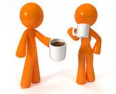 3d Orange Man and Woman Drinking Coffee