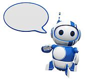 3d Cute Blue Robot With Word Bubble