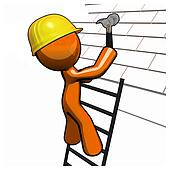 Orange Man Roofer with Hammer Hard Hat and Ladder