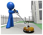 3d Blue Man with Concrete Cleaner