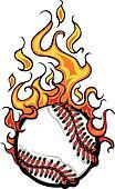 Baseball Softball Flaming Ball Vect
