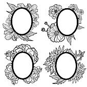 Set of vintage oval frames with flowers