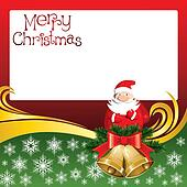 Vector Christmas Card with Bells and Santa Claus