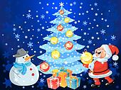 vector happy Santa Claus and snowman decorate the Christmas tree