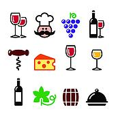 Wine colourful icons set - glass