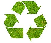 Recycle symbol with green moss texture