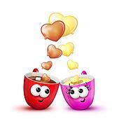 Love Mugs Hot Chocolate and Eggnog