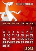 Origami dragon Calendar 2012Decembr