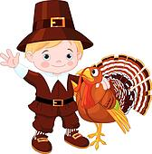 Cute pilgrim  and turkey