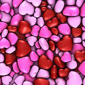 Several stacked hearts of all colors background