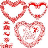 Set of vintage ornamental hearts shapes with calligraphic text B