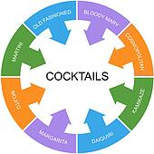 Cocktails Word Circle Concept
