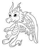 Little dragon cartoon line-art