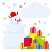 Vector illustration of the snowman and piles of presents on whit