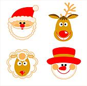Santa Claus, reindeer, snowman and