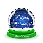 Happy Holidays Snow Globe