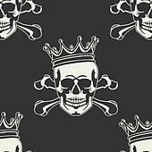 Emblem with  skull and  crown Seaml