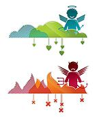 Angel on heaven & devil in hell - concepts vector illustration