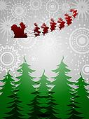 Santa Sleigh Reindeer Over Trees on Silver Background