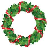 Holly berry wreath with ribbon