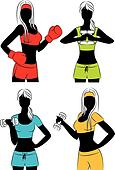 Vector beautiful fitness girls