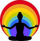 woman sitting in yoga lotus positio