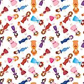 cartoon Medieval beautiful girls seamless pattern