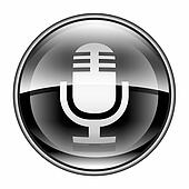 Microphone icon black, isolated on white background