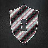 Privacy concept: Shield With Keyhole on chalkboard background