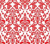 Vector. Seamless elegant damask pattern. Red and white