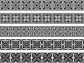 Set of five vector art deco borders