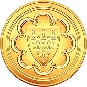 vector French money ecu gold coin