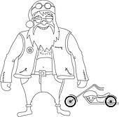 Color it. Santa Claus Biker
