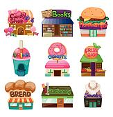cartoon shop/house icons