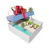 tropical beach in the gift box