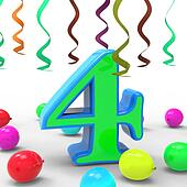 Number Four Party Means Colourful Birthday Party Or Celebration