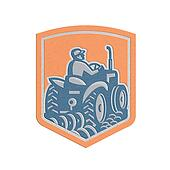 Metallic Farmer Driving Tractor Plowing Farm Shield Retro