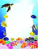 Sea life background with blank sign
