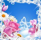 Magnolia, rose, daisy and transparent butterfly