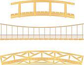 wooden and hanging bridge vector