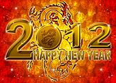 2012 Happy New Year Golden Chinese Dragon Illustration