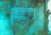 Grunge textured collage - Balinese God statue