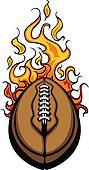 American Football Ball Flaming Vect