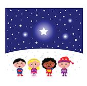 Cute multicultural Kids singing Christmas Carol song