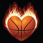 Vector basketball on fire
