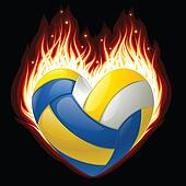 Vector volleyball on fire