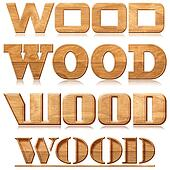 "Four words ""wood"" in wood carving"