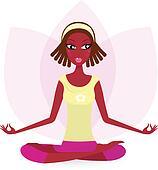 Ethnic female practicing yoga exercise isolated on white Ethnic